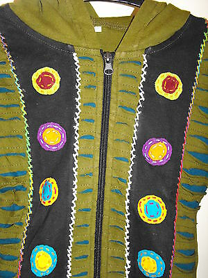 Children boy girl hippie festival Nepal razor cut pixie hood jacket small NEW 2