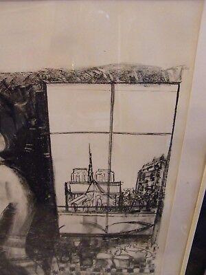 Lithografie von Martinez Probedruck Mädchen Ausgezogen Paris 3