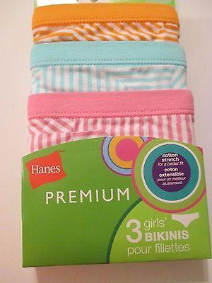 NWT Girls HANES PREMIUM Size 12 Striped Bikinis Underwear Panties~3 Pairs 4