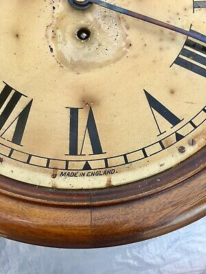 "Antique 12"" Fusee Mahogany Wall Clock 2"