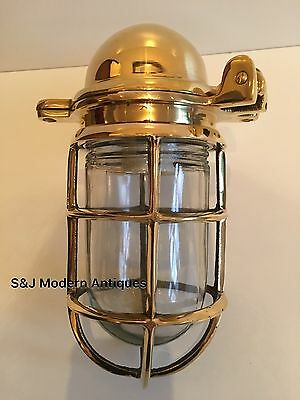 Antique Industrial Wall Light Vintage Cage Bulkhead Gold Brass Ship Lamp Old 10