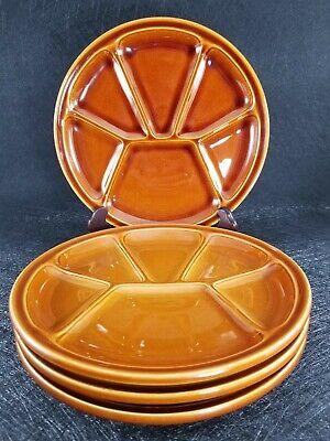 "Set Of 4 Gien Pottery France Fondue Plates 8"" 3"