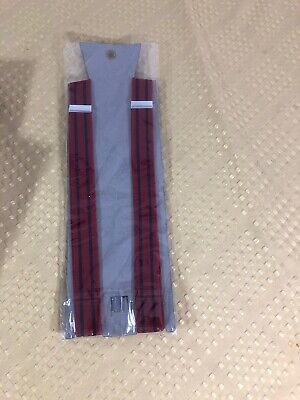 Makers Mark Bourbon Suspenders Red With Blue Stripes New