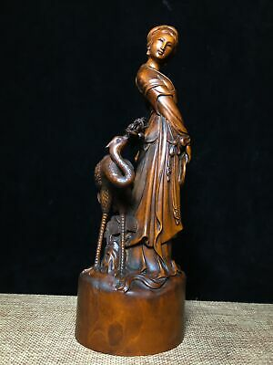 Collectable China Old Hand-Carved Crane & Fairy Delicate Unique Decorate Statue 4