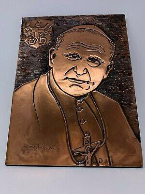 Vintage Católica Papa John Paul 2 Hecho a Mano Cobre Madera Tallado Pared Art 8