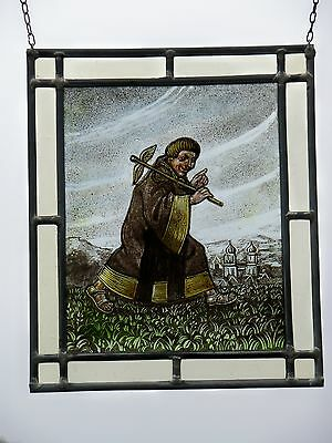 "Leaded Glass Window Image rare old Glass painting Picture ""Eilender Monk"" 2"