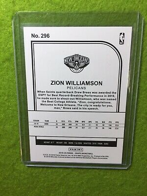 ZION WILLIAMSON ROOKIE CARD JERSEY #1 PELICANS RC 2019-20 Panini HOOPS rookie rc 11