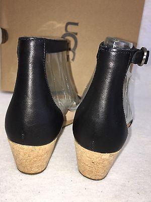 52227bac8af ... UGG Australia Emilia Wedge Ankle Strap SANDALS Black Leather Suede Cork  1016765 11