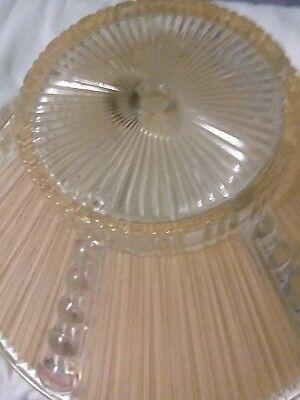 Vtg Deco Era Semi Flush Glass Shade Chandelier 1930s PEACH/CLEAR RIBBED MOTIF 11 7