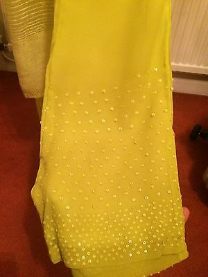 Brand New Ladies Lime Green Designer Indian Shalwar Kameez By SHEETAL Size Small 4