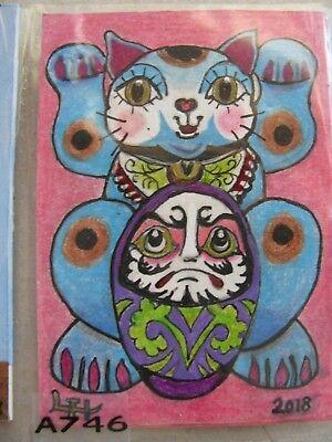 "A847     Original Acrylic Aceo Painting By Ljh ""Folk Art Cat"" 2"