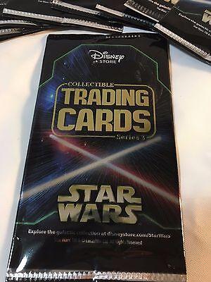 Lote de 10 Paquetes Serie 3 Disney Store Star Wars Coleccionable Cartas 2