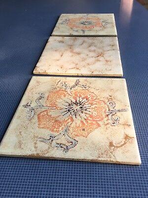 DÄNISCHBURG Vintage Beige Tiles Made In Germany 🇩🇪 Floral Design 6