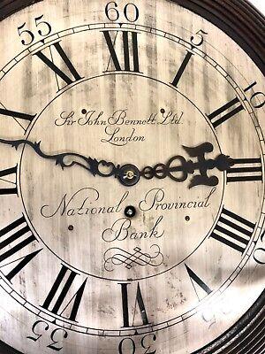 National Provincial Bank CHAIN Fusee Mahogany Wall Clock SIR JOHN BENNETT LONDON 5