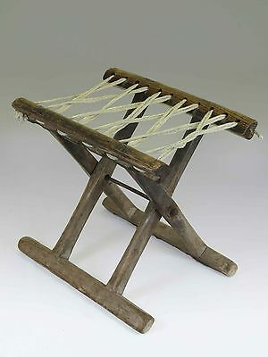 A Chinese Antique Wood Rope Folding stool 10.6'' H light wood tone ancient chair 2