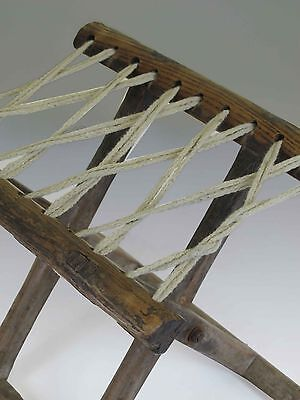 A Chinese Antique Wood Rope Folding stool 10.6'' H light wood tone ancient chair 3