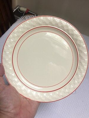"""Vintage Taylor Smith & Taylor Red Striped Art Deco 9"""" Luncheon Plates (2) 7"""