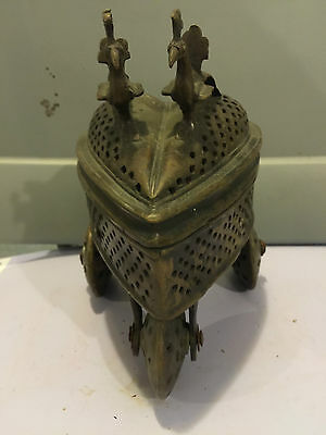 Reliquary Antique Brass Religious Incense Trolley From Cathedral In Europe 9