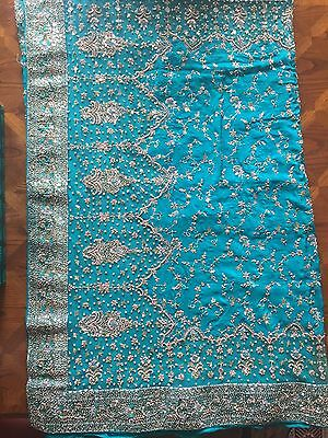 Indian Bridal Engagement Wedding Sari Blue Green Turquoise 3 Piece Dupatta Heavy 5