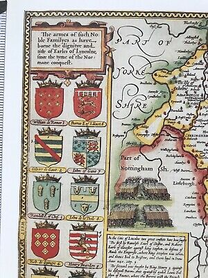 Old Antique Tudor map Lincolnshire, Lincoln, England: John Speed 1600's Reprint 5