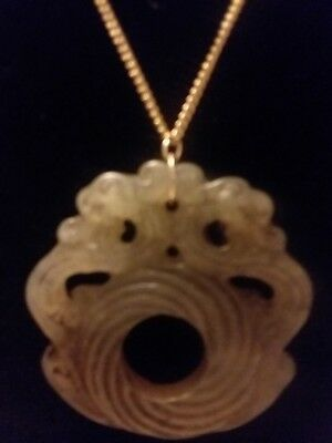 "Fine  Chinese 2 Dragons He Tian Jade 2 Side H/Carved/Scroll Work  Pendant 2""×2"" 9"