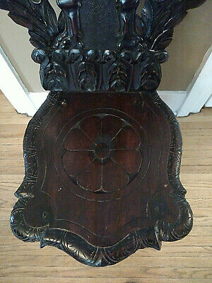 18th century Italian Renaissance Lion Carved Walnut Sgabello Hall Chair 4