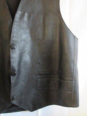 Vintage Men's Black Genuine Leather Vest Snap Front Biker Trucker Mexico L - XL