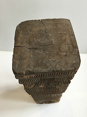 1 Antique Carved Wooden Votive Towers With Base For Oil Lamp 19Th Century India 7