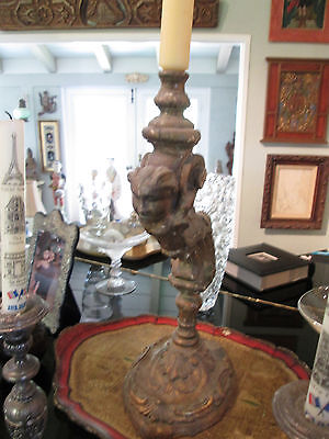 Rare 18th Century Carved and Guilded Italian Candlestick 2