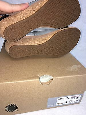 e3494b32efa ... UGG Australia Emilia Wedge Ankle Strap SANDALS Black Leather Suede Cork  1016765 12