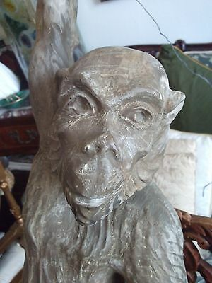 rare antique /vintage very large hand carved monkey 3