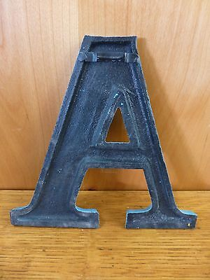 "BLUE CAST IRON WALL LETTER ""A"" 6.5"" TALL rustic vintage decor sign barn nursery 5"