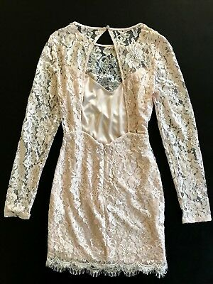 NWT Bebe coral pink blush lace floral open back long sleeve top dress M Medium 6 7