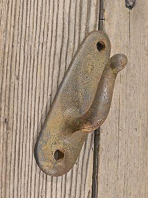 "2 single Hooks old iron rustic farmhouse vintage 3 7/8"" wash line coat hangers 11"
