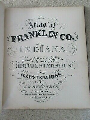 First Atlas of Franklin County Indiana 1882 handcolored maps, ports., landowners 3