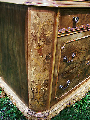 Marquetry Masterpiece Antique Furniture Chest Drawers Dresser French Provincial 3