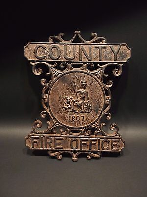 Antique Vintage Style Heavy Cast Iron County Fire Office Sign 1807 Fireman 7