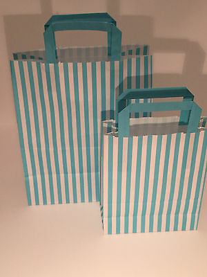 FLAT STRIPE Handle Coloured Paper Bags For Parties & Christmas Bags 4