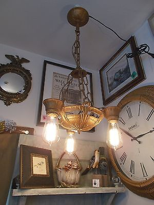 Antique Art Deco gilt 3 Edison Squirrel Cage Bulb Chandelier and Chain Works! 8
