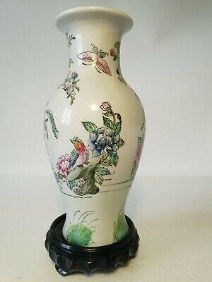 🔅 chine vase a décor oiseaux, papillons, floral à identifier 3