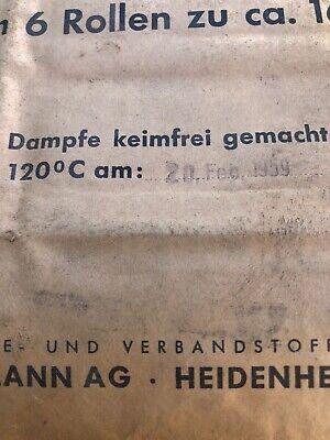 Verbandwatte Paul Hartmann Heidenheim Ovp 2/1959 Dampf Steril 6 Rollen 167g 1Kg 2
