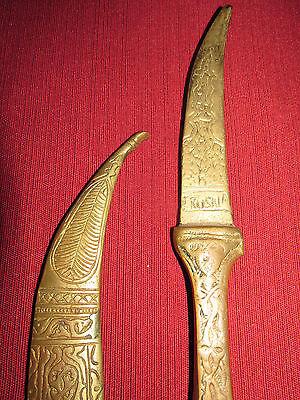 Antique Russian/persian Letter Opener Knife Kinjal, Heavy Brass 3