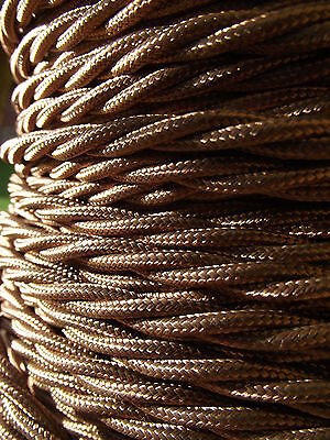 10 mts Antique Style 3 core Gold Fabric Covered Electrical Cable flex light lamp 6