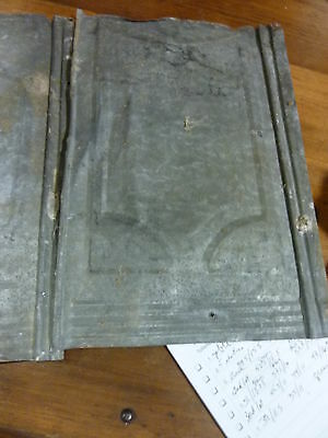lot of FIVE (5) VICTORIAN tin tile panels MOST likely used on exterior 14 x 9.25 4