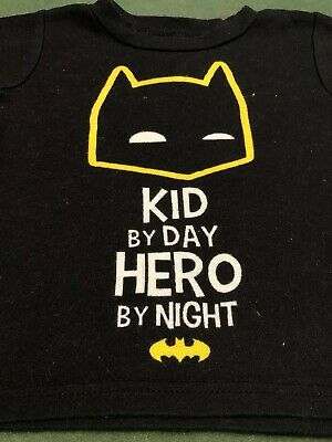 Unisex BATMAN child's kids 18 month T-shirt Kid by day Hero by night Shirt Top P 2