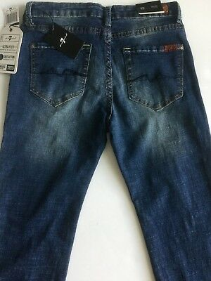 Nwt 7 For All Mankind Sz12Y Jungen Standard Gerade Jeans Stretch Nostalgie Blau 4