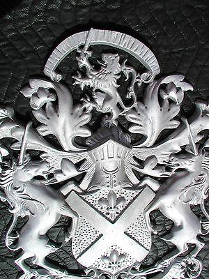 "Scottish Rampant Unicorn with Lion, Driveway Gate Crest,Cast Aluminum,23""x 19"" 3"