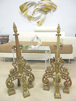 Tall Antique Hollywood Regency Andirons Nouveau Draper Era Old Bronze Florentine 12