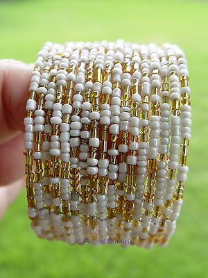 BOHEMIAN SEED BEADS BRACELET - WHITE Wicca Witch Pagan Goth