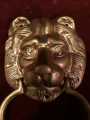 Vintage Brass DOOR KNOCKER Lion's Head 4